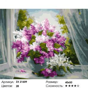 Количество цветов и сложность Букет яркой сирени Раскраска картина по номерам на холсте ZX 21609