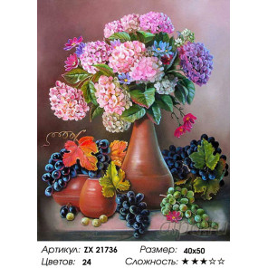 Гортензия и виноград Раскраска картина по номерам на холсте ZX 21736