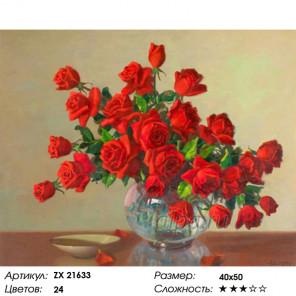 Количество цветов и сложность Букет алых роз Раскраска картина по номерам на холсте ZX 21633