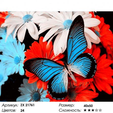 Количество цветов и сложность Бабочка на цветах Раскраска картина по номерам на холсте ZX 21761