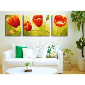Алые тюльпаны Раскраска по номерам на холсте Iteso