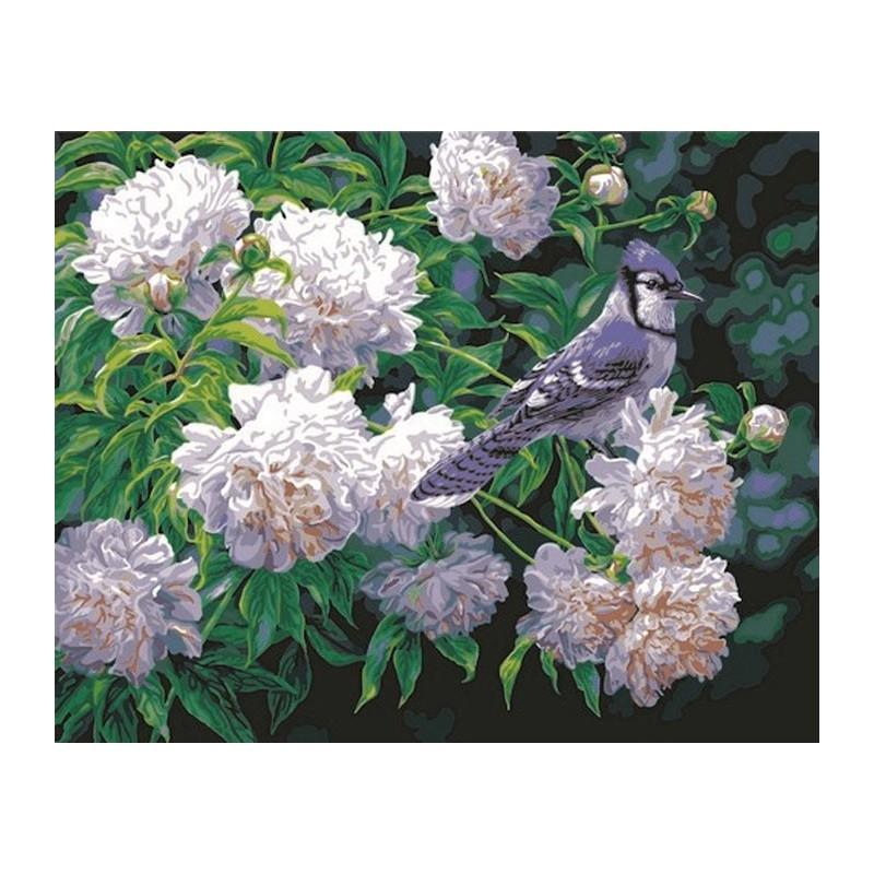 Сойка и цветы Раскраска картина по номерам Plaid PLAID PLD ...