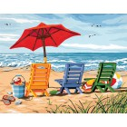 Трио шезлонгов 91316 Раскраска по номерам акриловыми красками Dimensions Картина по номерам
