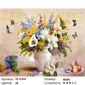 Количество цветов и сложность Нежный натюрморт с фруктами Раскраска картина по номерам на холсте ZX 21576