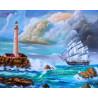Морской пейзаж с маяком Раскраска картина по номерам на холсте ZX 21749