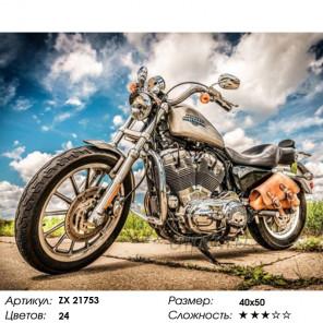 Количество цветов и сложность Мотоцикл Харли Дэвидсон Раскраска картина по номерам на холсте ZX 21753