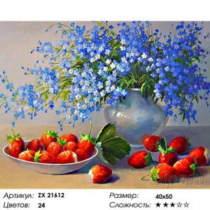 Незабудки и клубника Раскраска картина по номерам на холсте ZX 21612