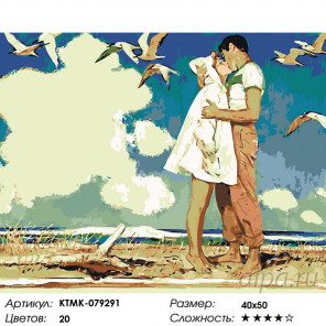 Количество цветов и сложность Поцелуй у моря Раскраска картина по номерам на холсте KTMK-079291
