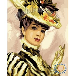 Дама в шляпе Раскраска по номерам акриловыми красками на холсте Hobbart
