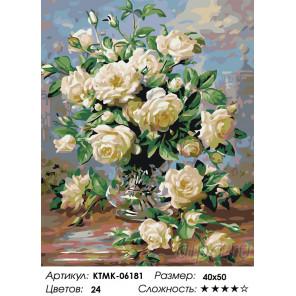 Аромат белых роз Раскраска картина по номерам на холсте KTMK-06181