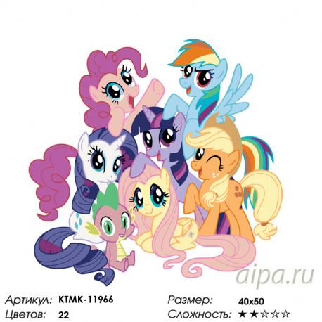 радужные пони раскраска картина по номерам на холсте Ktmk 11966