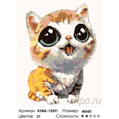 Количество цветов и сложность Котенок с выразительными глазами Раскраска картина по номерам на холсте KTMK-13291