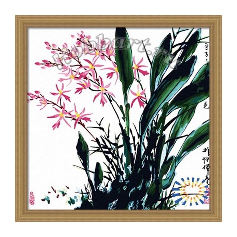 Орхидеи Китайской тушью Раскраска по номерам на холсте ...