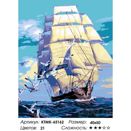 Количество цветов и сложность К новым берегам Раскраска картина по номерам на холсте KTMK-65162