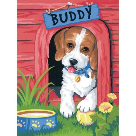 Милый щенок Раскраска по номерам акриловыми красками Dimensions