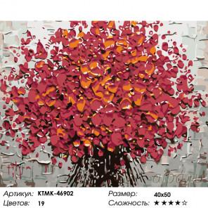 Количество цветов и сложность Красные цветы Раскраска картина по номерам на холсте KTMK-46902