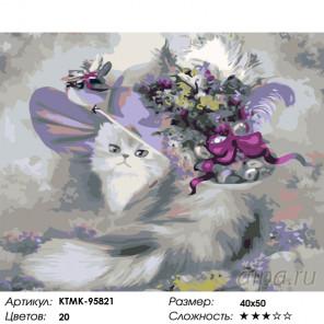 Количество цветов и сложность Кошечка в шляпке Раскраска картина по номерам на холсте KTMK-95821