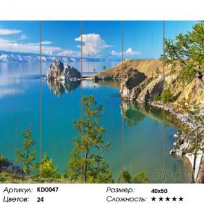 Количество цветов и сложность Озеро Байкал Картина по номерам на дереве Molly KD0047