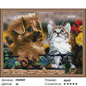 Количество цветов и сложность Два друга Алмазная мозаика вышивка на подрамнике КМ0029
