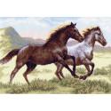 Бегущие кони Канва с рисунком для вышивки Матренин посад