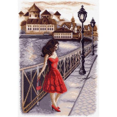 Вечер на набережной Канва с рисунком для вышивки Матренин посад