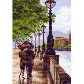 Двое на набережной Канва с рисунком для вышивки Матренин посад