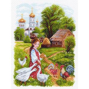 На птичьем дворе Канва с рисунком для вышивки Матренин посад