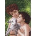 Дети и овечка Канва с рисунком для вышивки Матренин посад