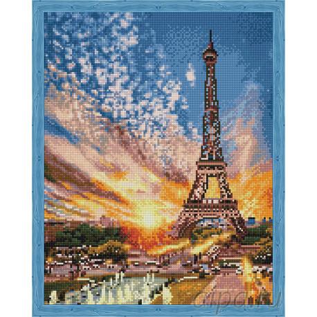 Эйфелева башня на закате Алмазная мозаика на подрамнике QA202805