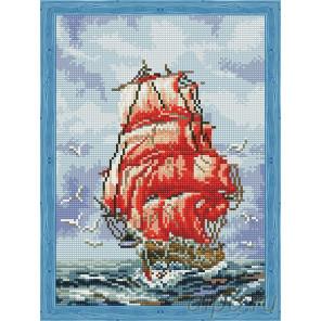 Алые паруса любви Алмазная мозаика на подрамнике QS200449