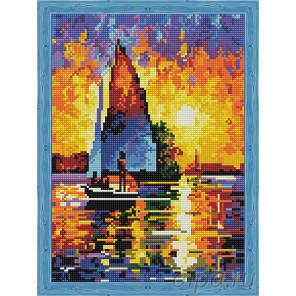 Парусник в лучах заката Алмазная мозаика на подрамнике QS200216