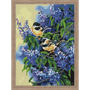 Птички в сирени Алмазная мозаика на подрамнике QS200272