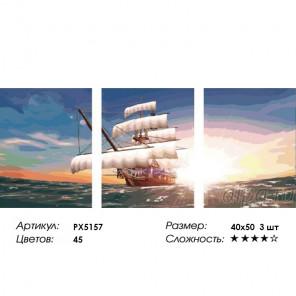 Количество цветов и сложность Парусник Триплекс Раскраска картина по номерам на холсте PX5157