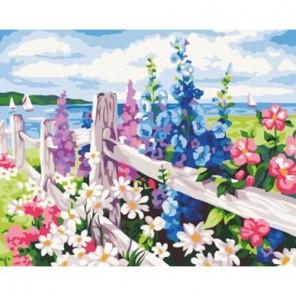 Цветы на побережье Раскраска по номерам акриловыми красками на холсте Menglei