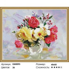 Количество цветов и сложность Розы в кувшинчике Алмазная мозаика вышивка на подрамнике КМ0093
