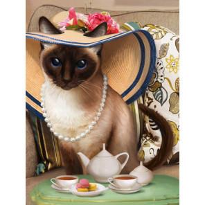 Чаепитие у кошки Алмазная вышивка мозаика АЖ-1729