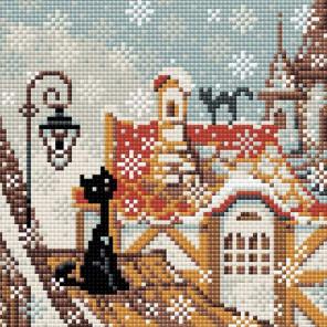 Город и кошки. Зима Алмазная вышивка мозаика Риолис АМ0010
