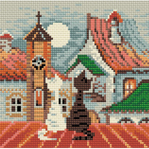Город и кошки. Весна Алмазная вышивка мозаика Риолис АМ0011