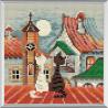 В рамке Город и кошки. Весна Алмазная вышивка мозаика Риолис АМ0011
