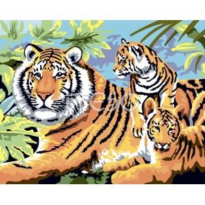 Полосатая семья Раскраска картина по номерам акриловыми красками на холсте Iteso