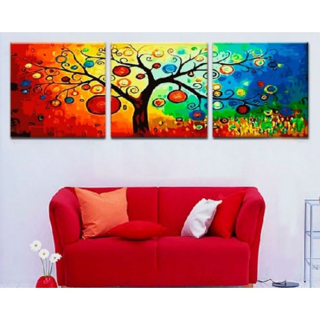 Дерево богатства Триптих Раскраска по номерам акриловыми красками на холсте Menglei