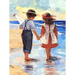 Дети у моря Алмазная мозаика вышивка Painting Diamond GF0999