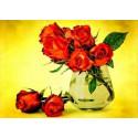 Алые розы Ткань для вышивки лентами Каролинка