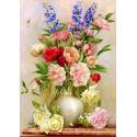 Букет с розами Ткань для вышивки лентами Каролинка