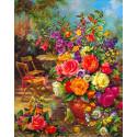 Букет в саду Ткань для вышивки лентами Каролинка