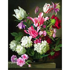 Букет с тюльпанами Ткань для вышивки лентами Каролинка