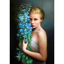 Портрет девушки Ткань для вышивки лентами Каролинка