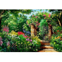 Калитка в сад Ткань для вышивки лентами Каролинка