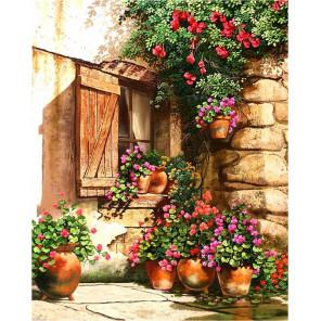 Дом в цветах Ткань для вышивки лентами Каролинка