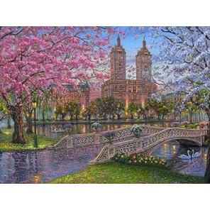 Город весной Ткань для вышивки лентами Каролинка